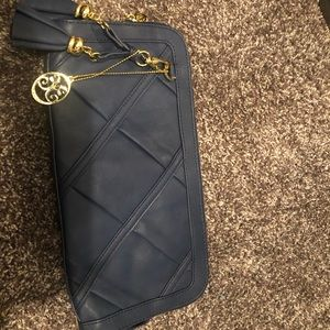 Large Vieta clutch (navy blue and gold)
